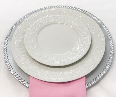 Silver w/ rope edge charger plate