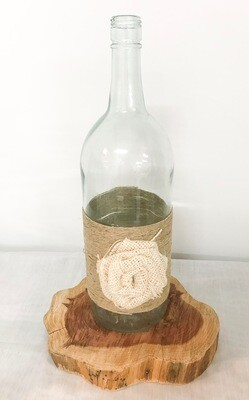 Twine Wrapped Wine Bottle with Flower 13