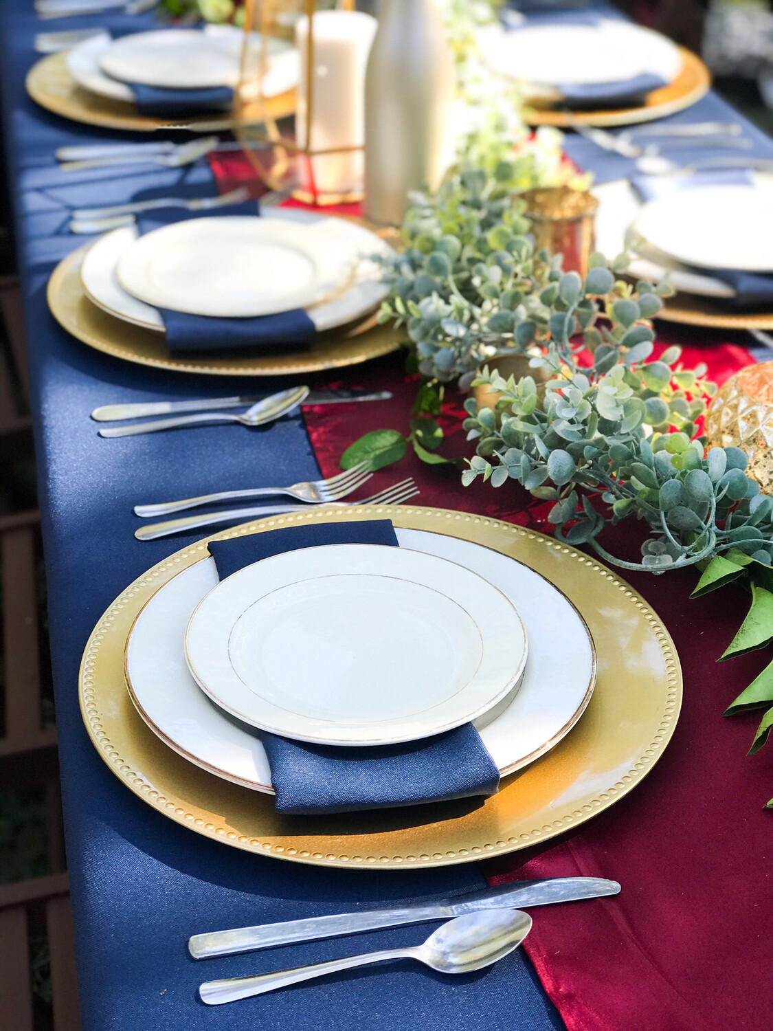 Gold- Dotted- Charger Plates