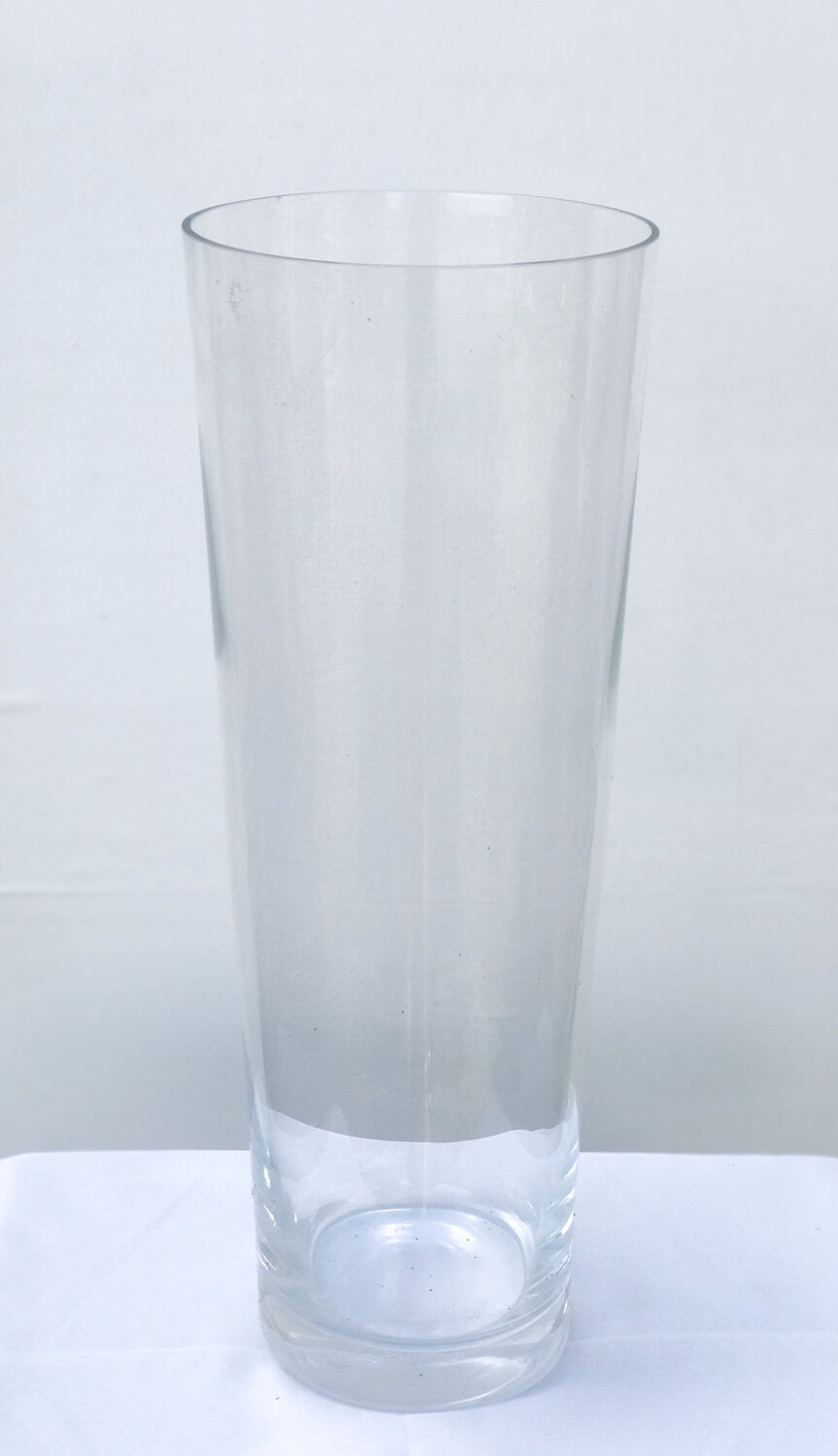 """V"" Shaped Glass Vase 18"" Tall 6.5"" Wide"