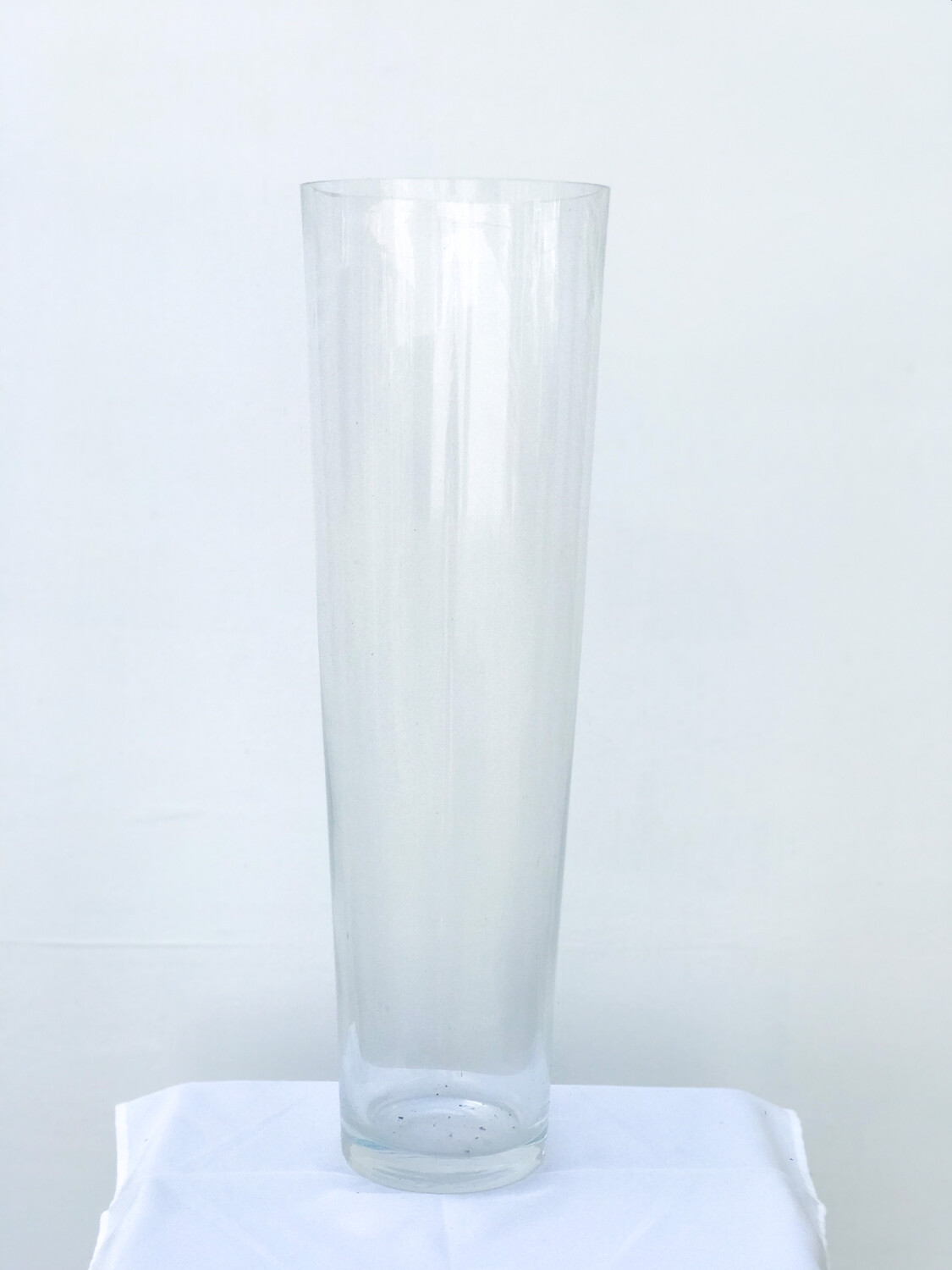 """V"" Shaped Glass Vase 24"" Tall 7.5"" Wide Opening"