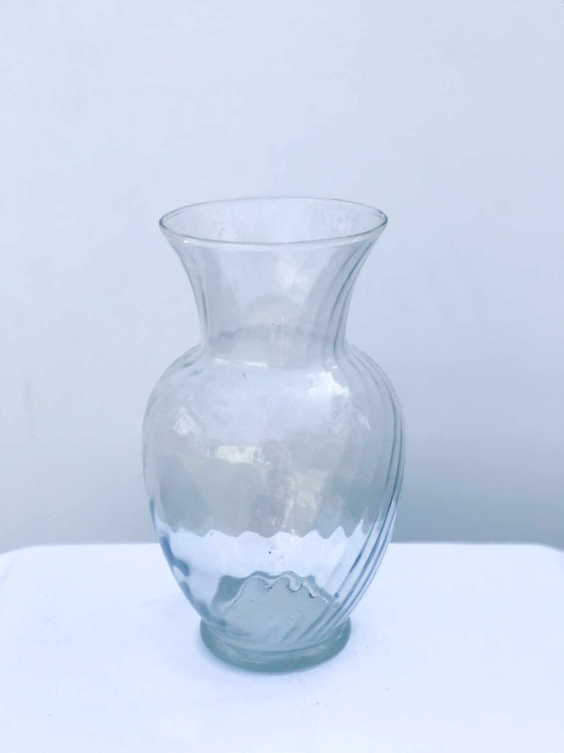 Large Ribbed Jardin Glass Vase