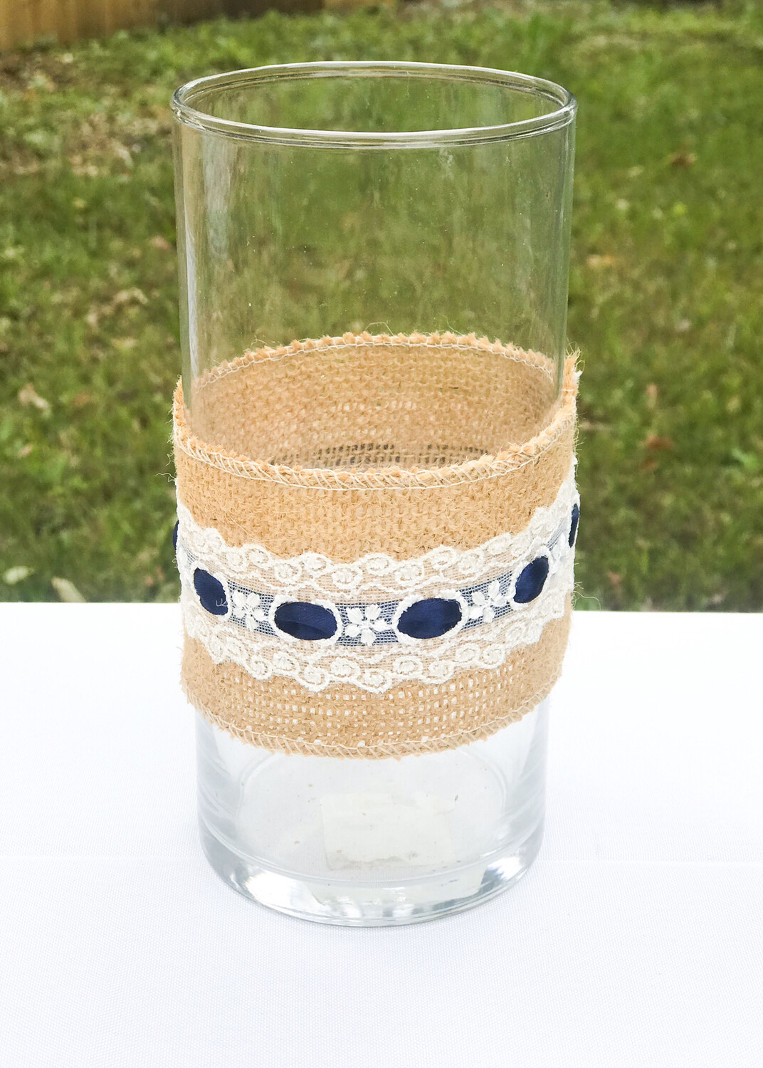 """Glass Cylinder Vase with Burlap, White Lace & Navy Ribbon 7.5"""" Tall"""