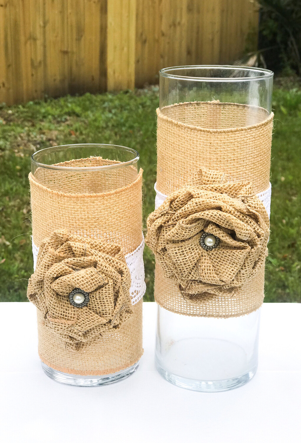 Glass Cylinder Vase with Burlap Bows