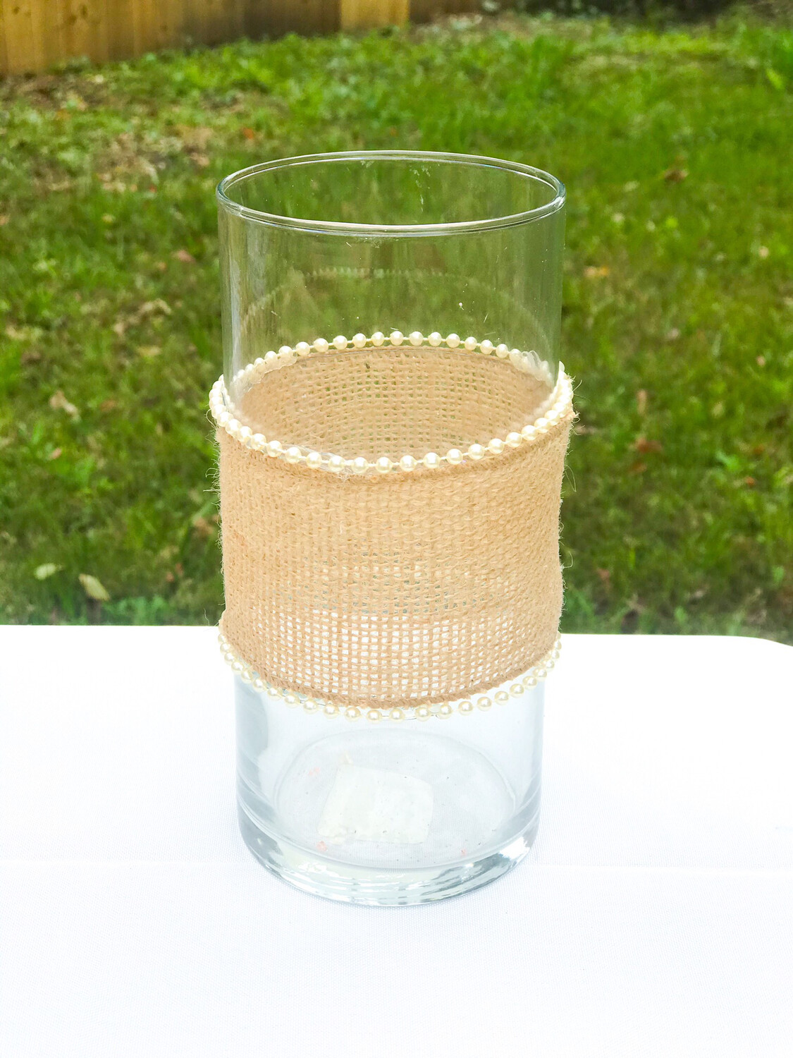 "Glass Cylinder Vase with Burlap & Pearls 7.5"" Tall"
