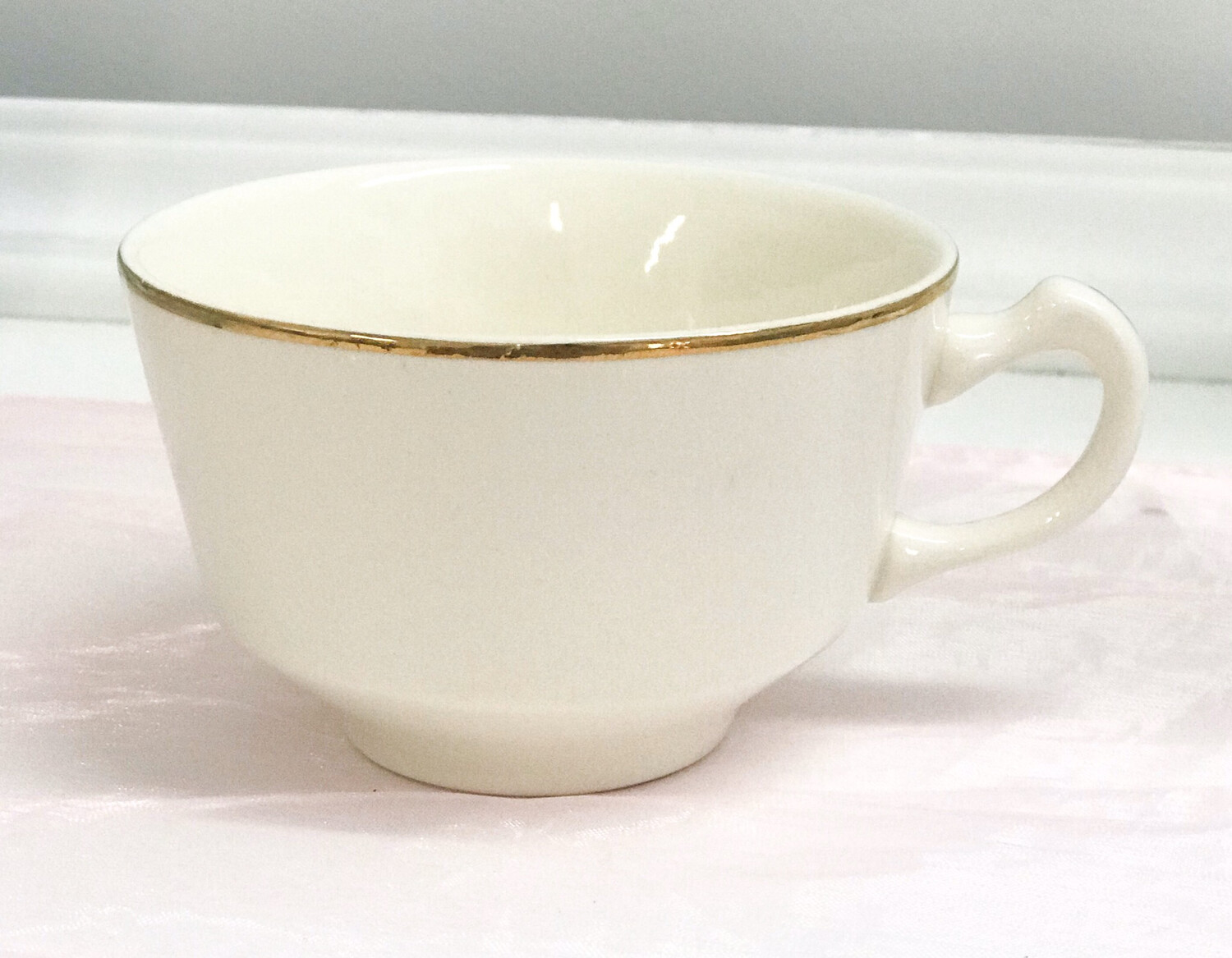 Short Ivory Coffee Cup with Gold Trim
