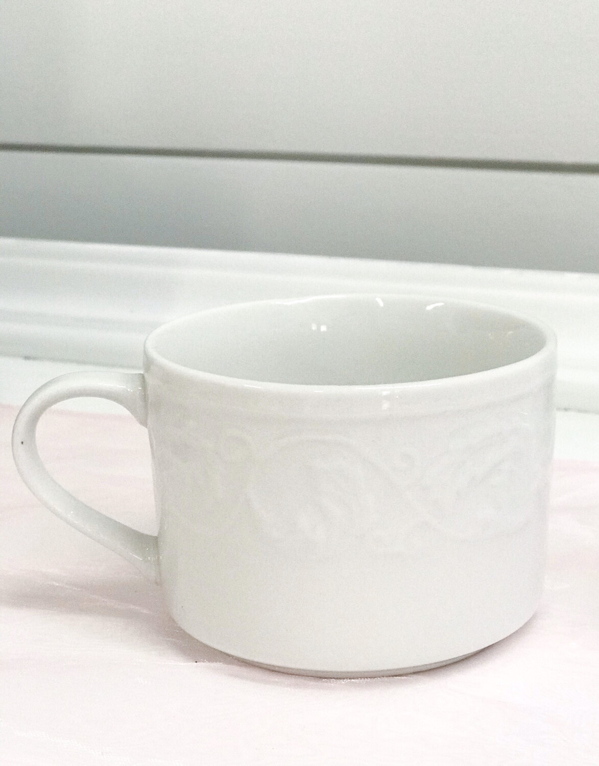 Short White Coffee Cup with Design