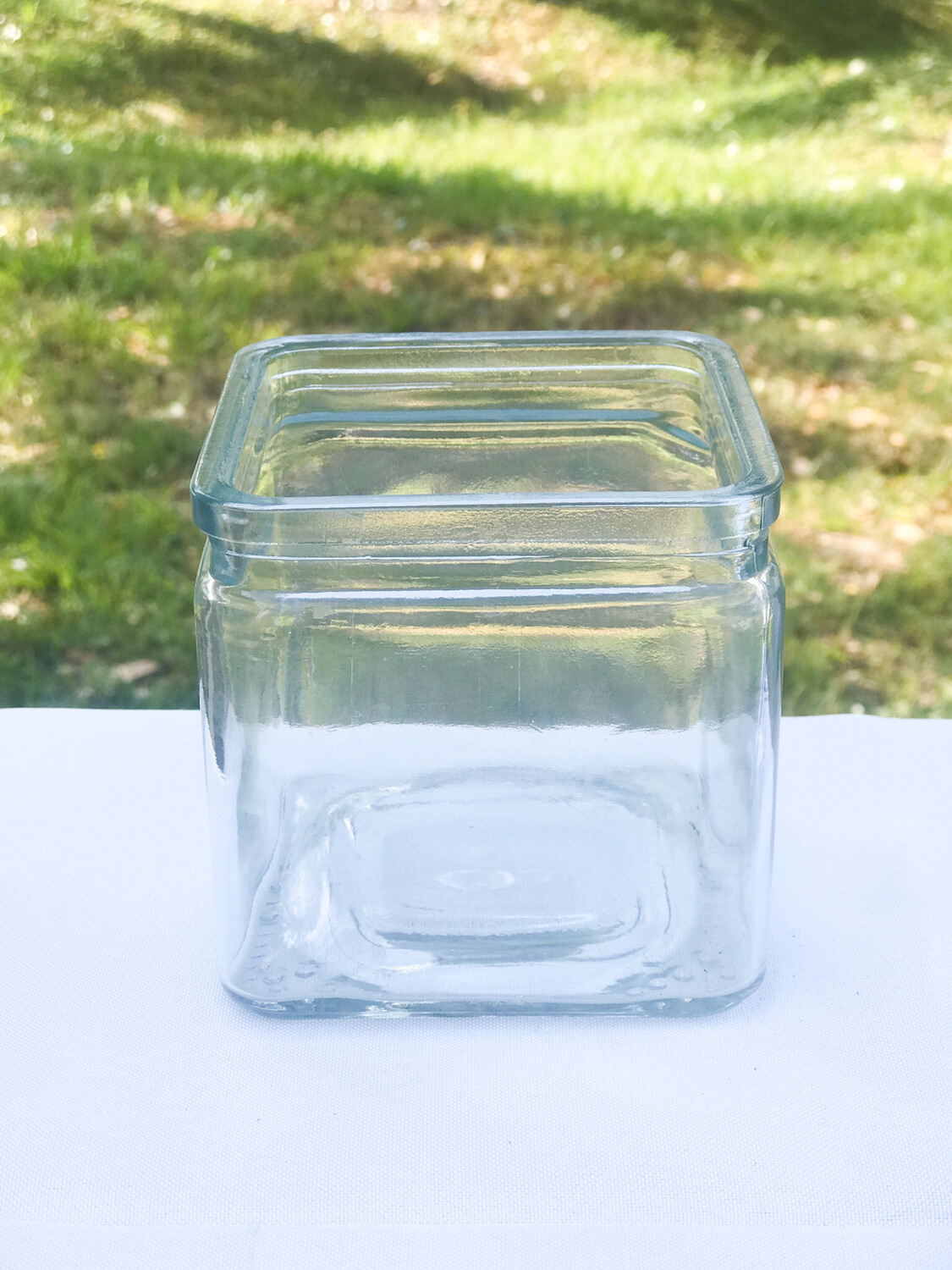 "Square Glass Vase 4"" Tall"