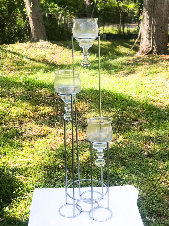 3L Silver Tableabra with Teardrop Glass