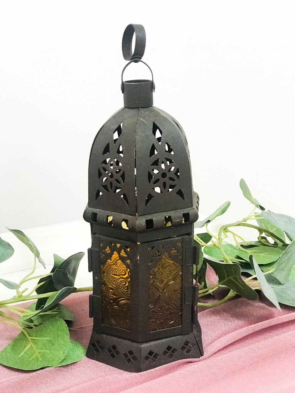 """Brown Metal Lantern 8.5"""" Tall"""