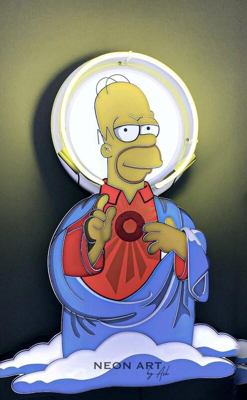 Jesus Homer Simpson Neon Artwork | Neon Light Sign