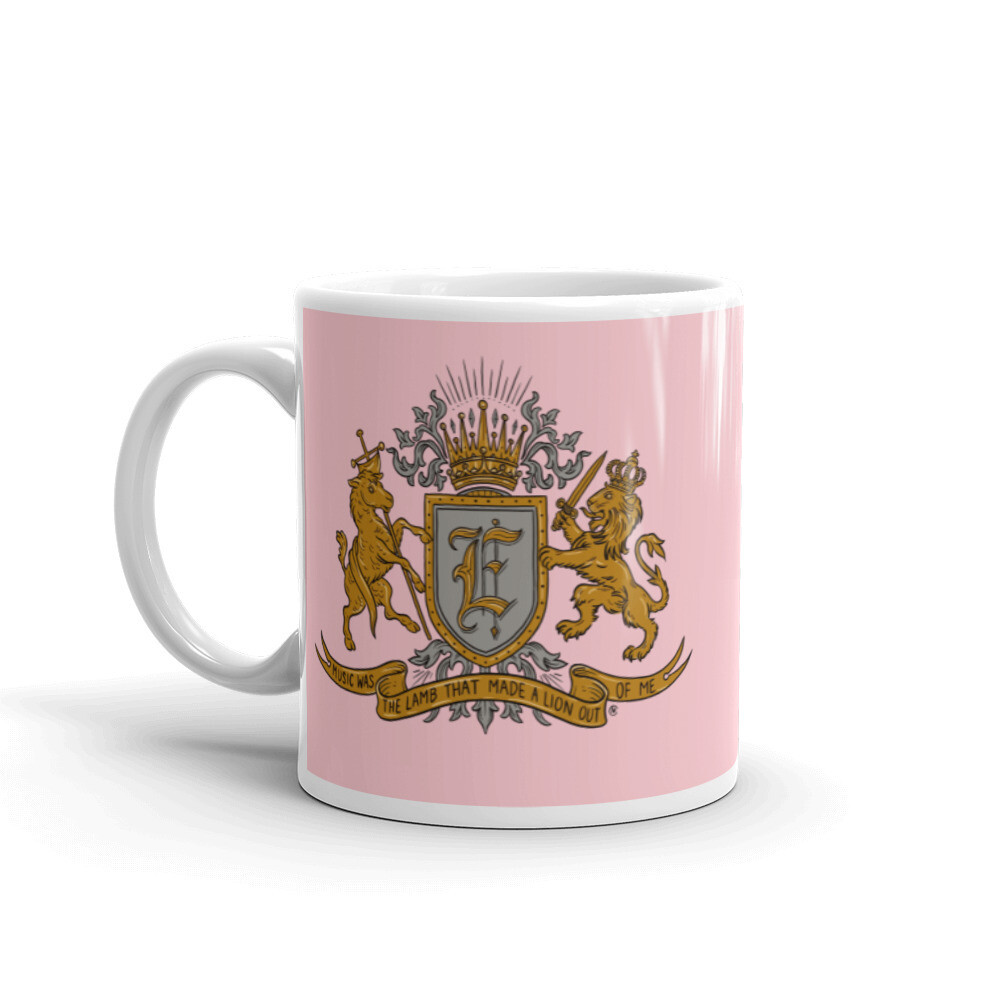 'Music Was The Lamb That Made A Lion Out Of Me' mug in pink