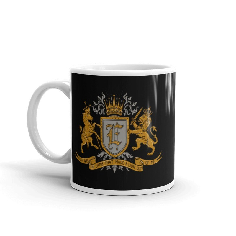 'Music Was The Lamb That Made A Lion Out Of Me' mug in black