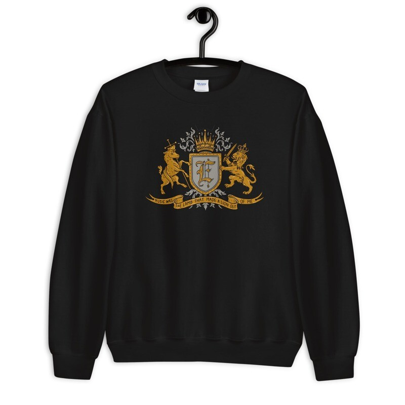 """""""Music Was The Lamb That Made A Lion Out Of Me"""" Coat of Arms Sweatshirt Black"""