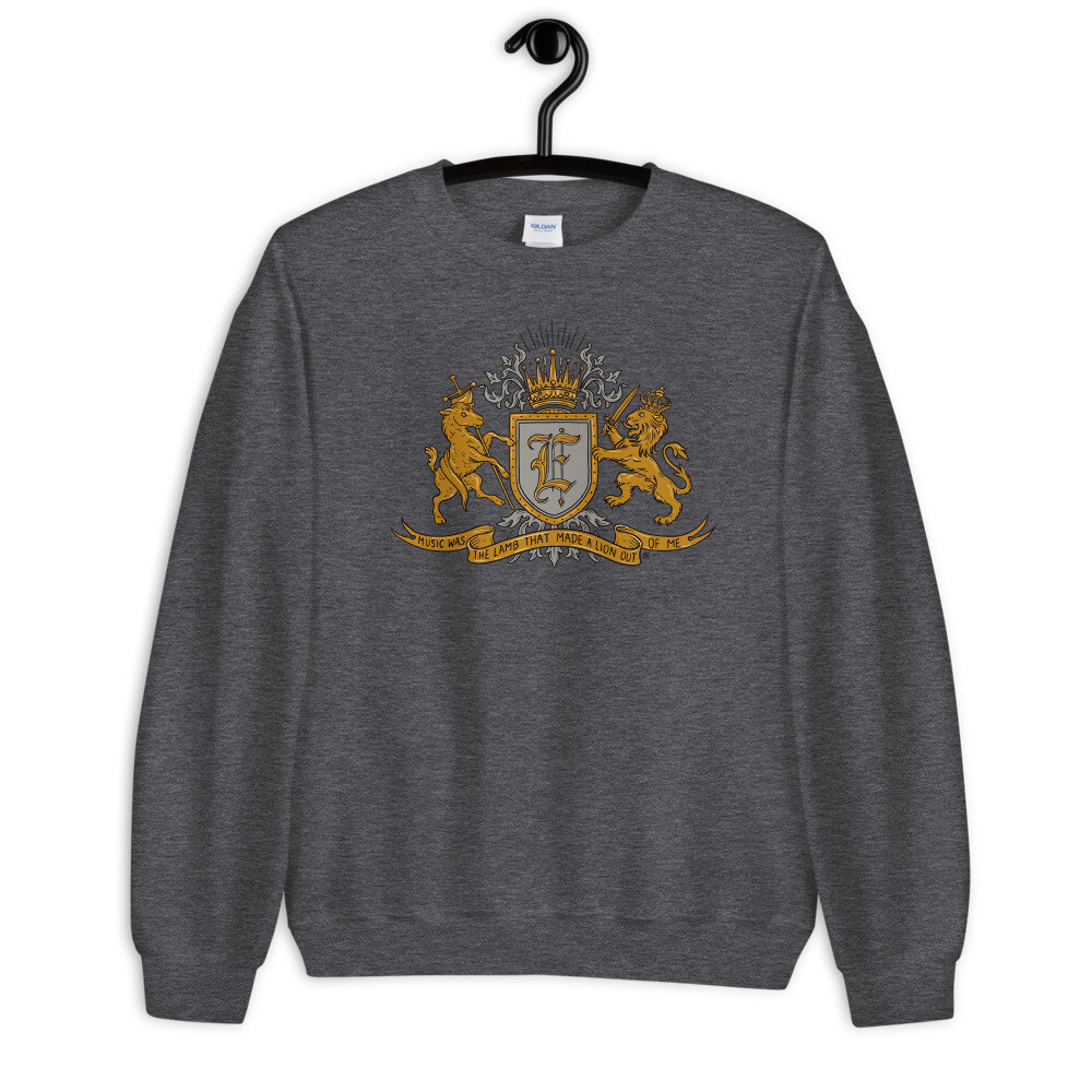 """Music Was The Lamb That Made A Lion Out Of Me"" Coat of Arms Sweatshirt Heather Grey"