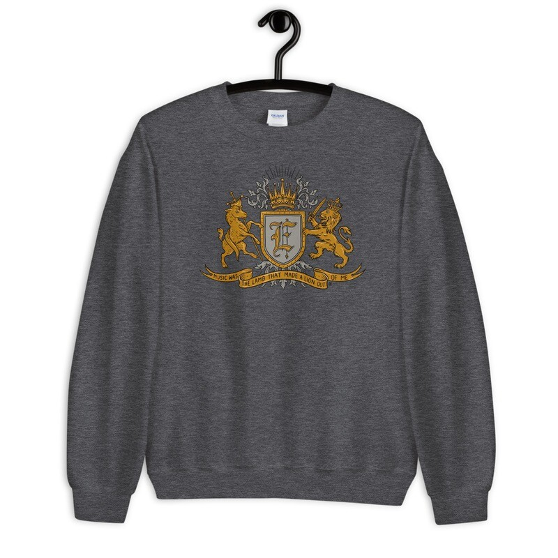 """""""Music Was The Lamb That Made A Lion Out Of Me"""" Coat of Arms Sweatshirt Heather Grey"""