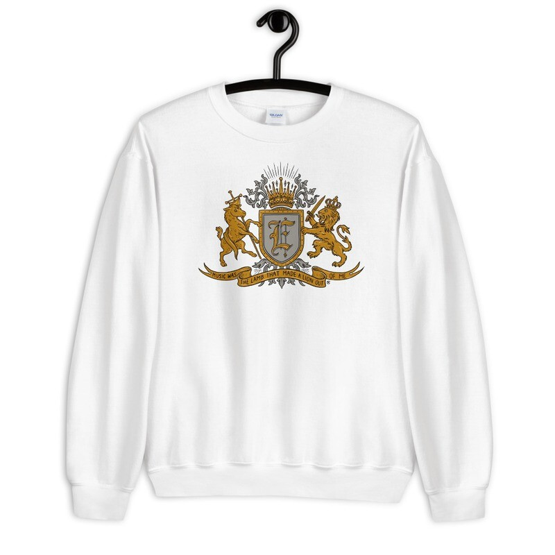 """""""Music Was The Lamb That Made A Lion Out Of Me"""" Coat of Arms Sweatshirt White"""
