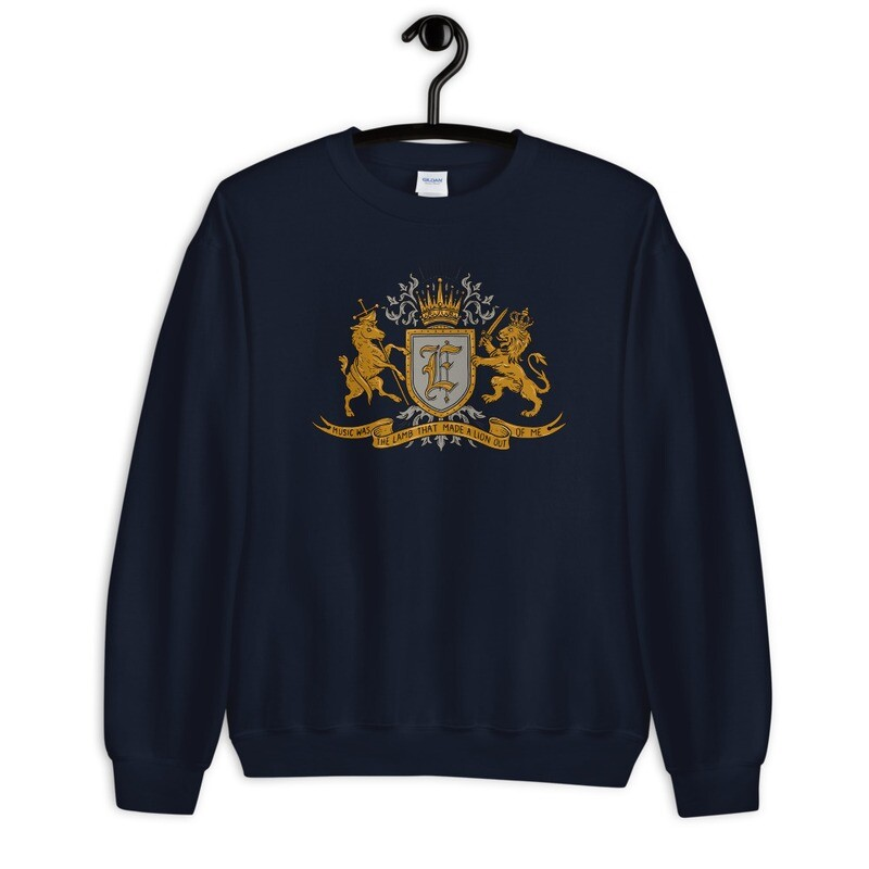 """""""Music Was The Lamb That Made A Lion Out Of Me"""" Coat of Arms Sweatshirt Navy Blue"""