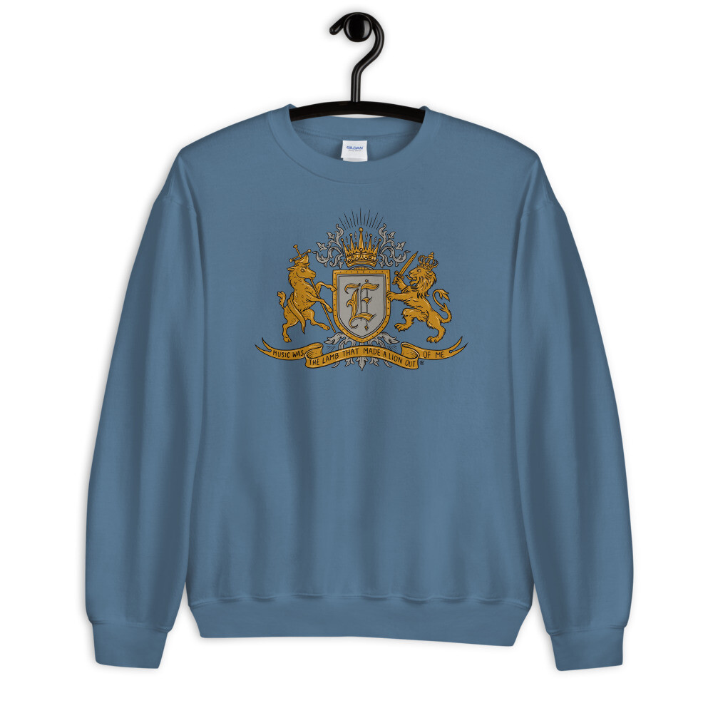 """Music Was The Lamb That Made A Lion Out Of Me"" Coat of Arms Sweatshirt Indigo Boy Blue"