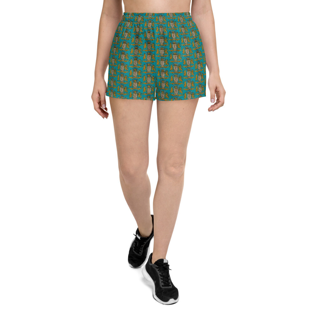 Multi Coat of Arms Women's Athletic Shorts in Jewel Teal