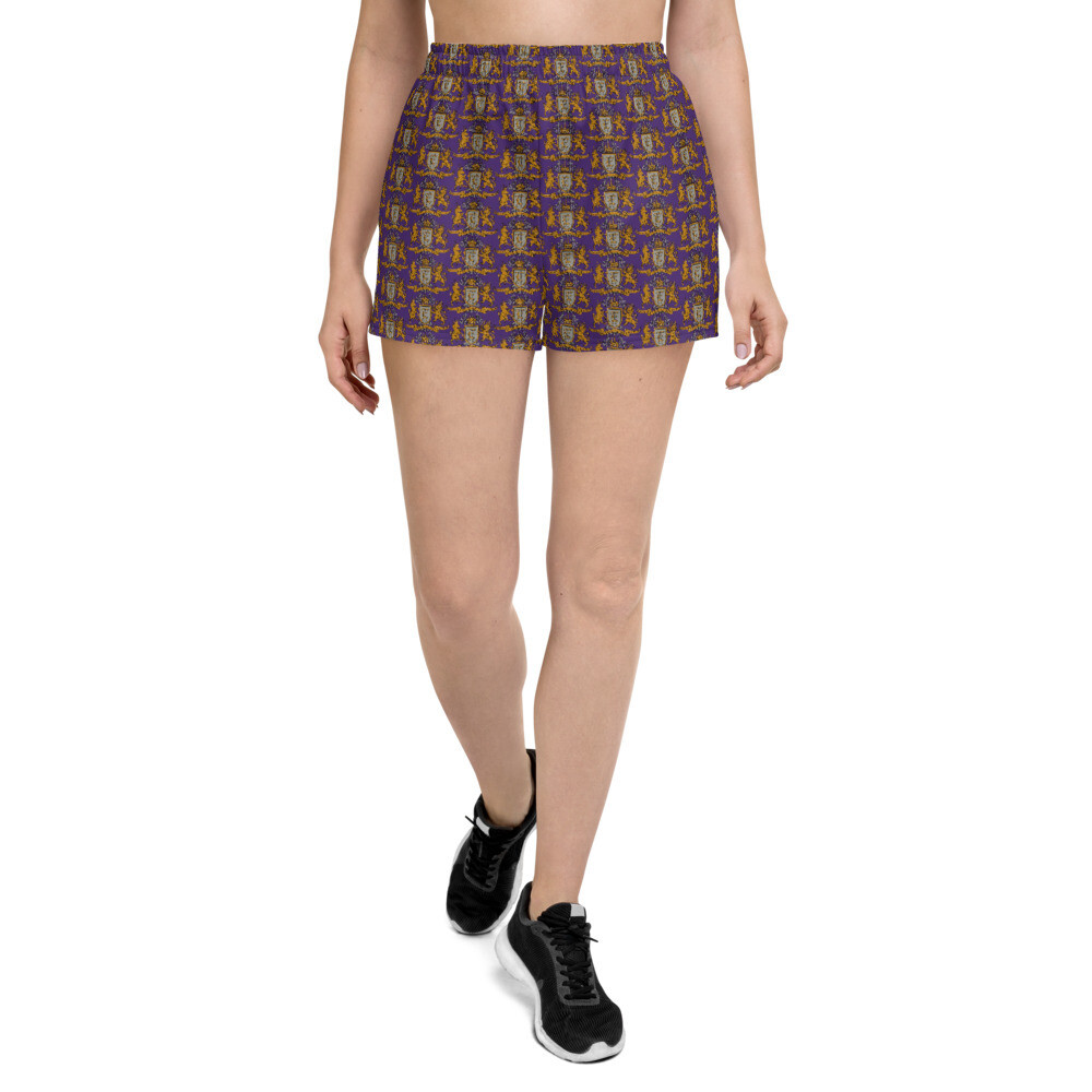 """Multi Coat of Arms Women's Athletic Shorts in """"I'm Royalty"""" Purple"""