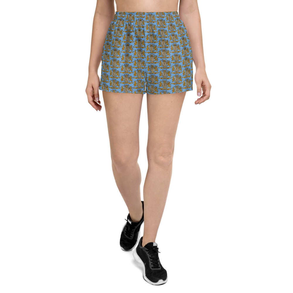 Multi Coat of Arms Women's Athletic Shorts in Blue