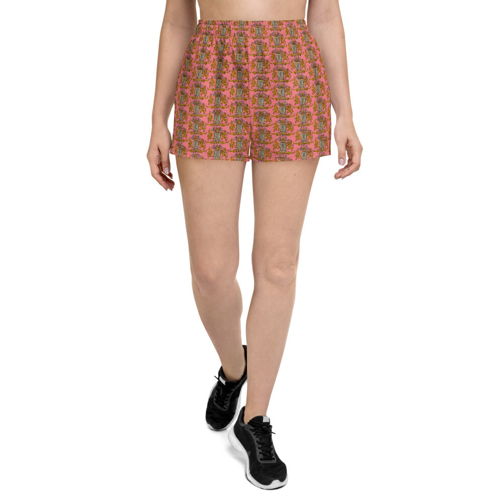 """Multi Coat of Arms Women's Athletic Shorts in """"Peachcup"""" Pink"""