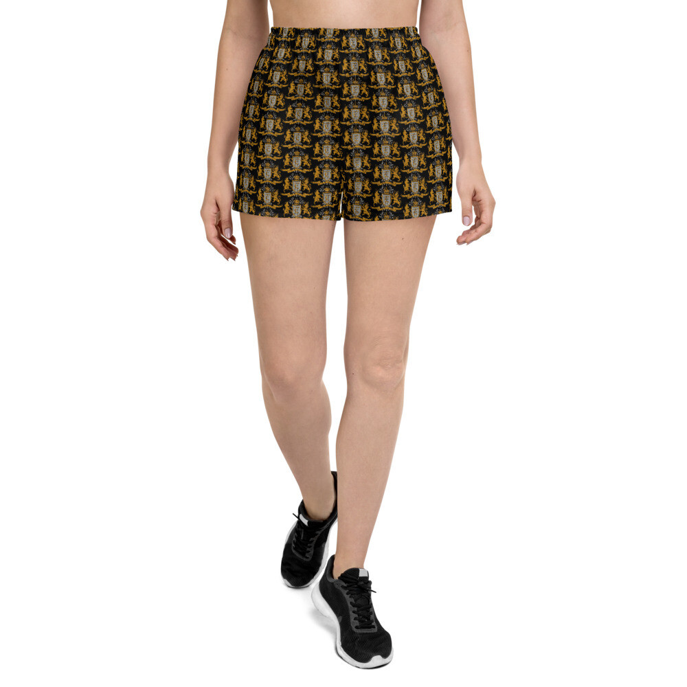 Multi Coat of Arms Women's Athletic Shorts in Black