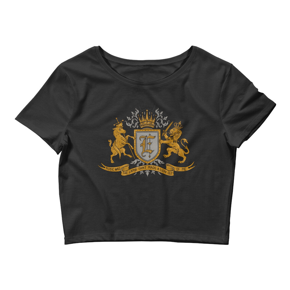 """""""Music Was The Lamb That Made A Lion Out Of Me"""" Women's Crop Tee full colour"""