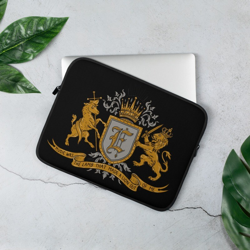 Swallow Me Coat of Arms Black Laptop Sleeve