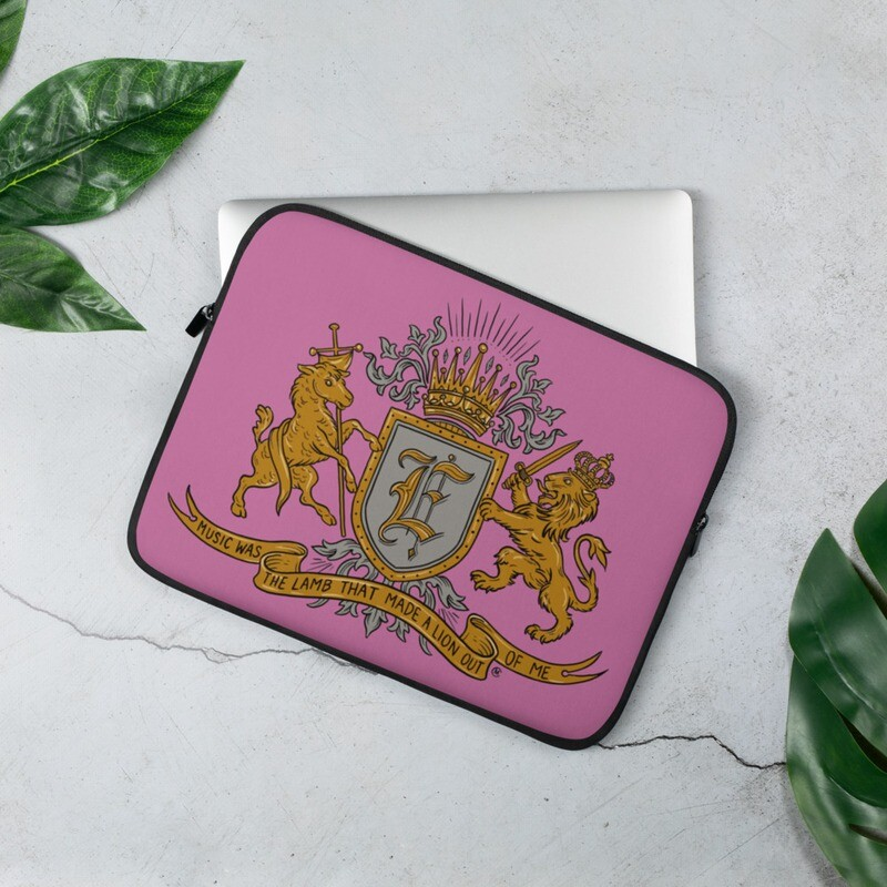 Swallow Me Coat of Arms Pink Laptop Sleeve