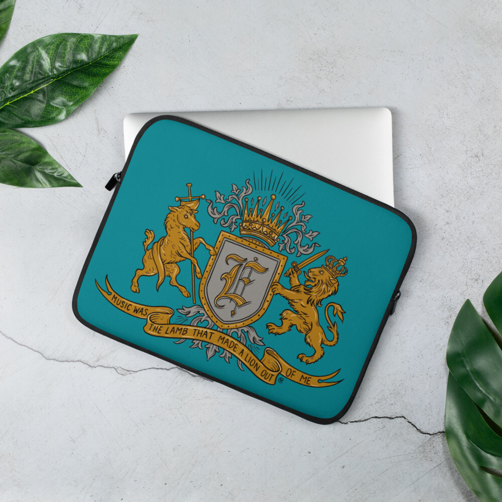 Swallow Me Coat of Arms Light Teal Laptop Sleeve