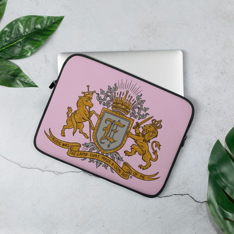 Swallow Me Coat of Arms Light Pink Laptop Sleeve