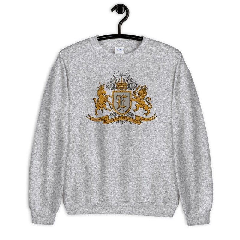 """""""Music Was The Lamb That Made A Lion Out Of Me"""" Coat of Arms Sweatshirt Athletic Grey"""