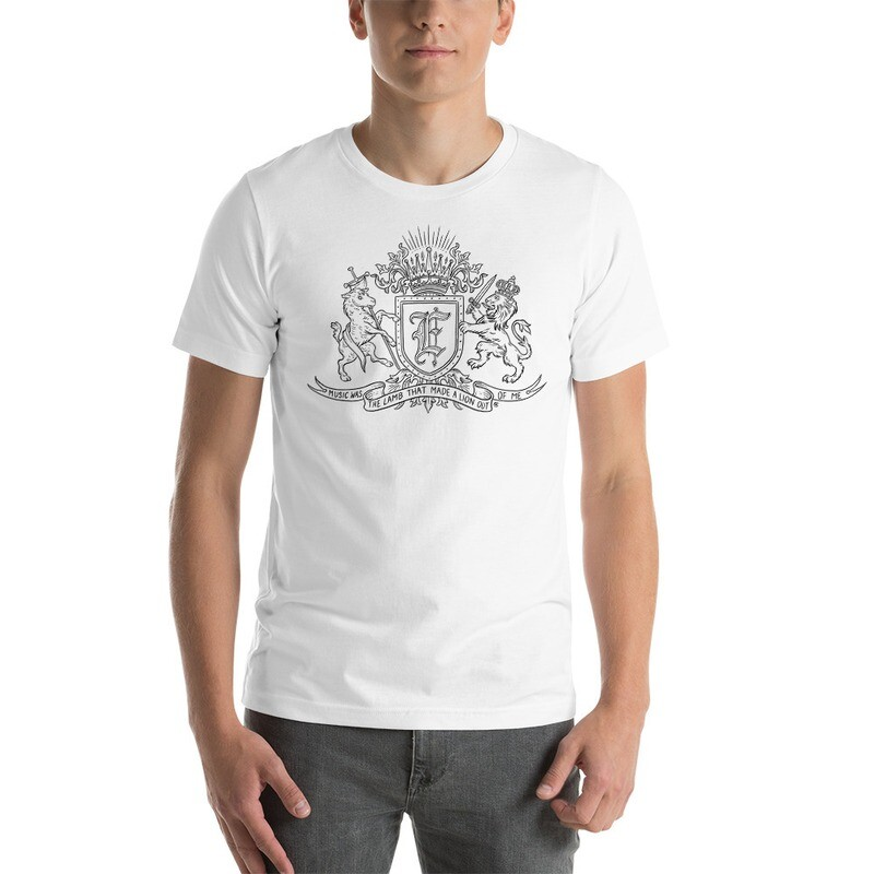 """""""Music Was The Lamb That Made A Lion Out Of Me"""" Black Coat of Arms Short-Sleeve Unisex T-Shirt"""