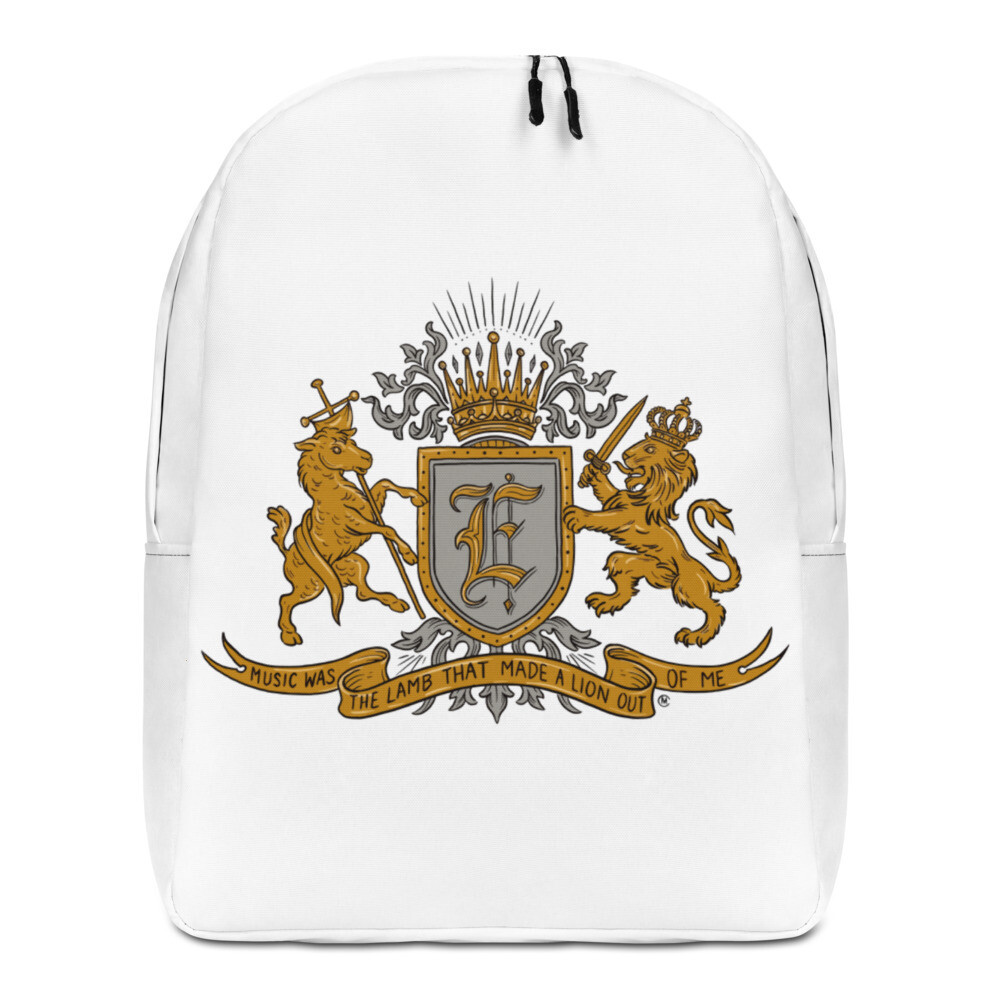 Swallow me Coat of Arms Minimalist Backpack White