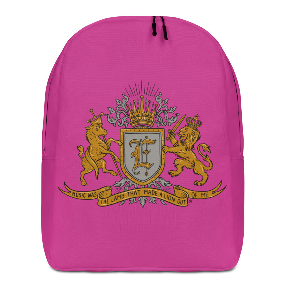 Swallow Me Coat of Arms Minimalist Backpack Hot Pink
