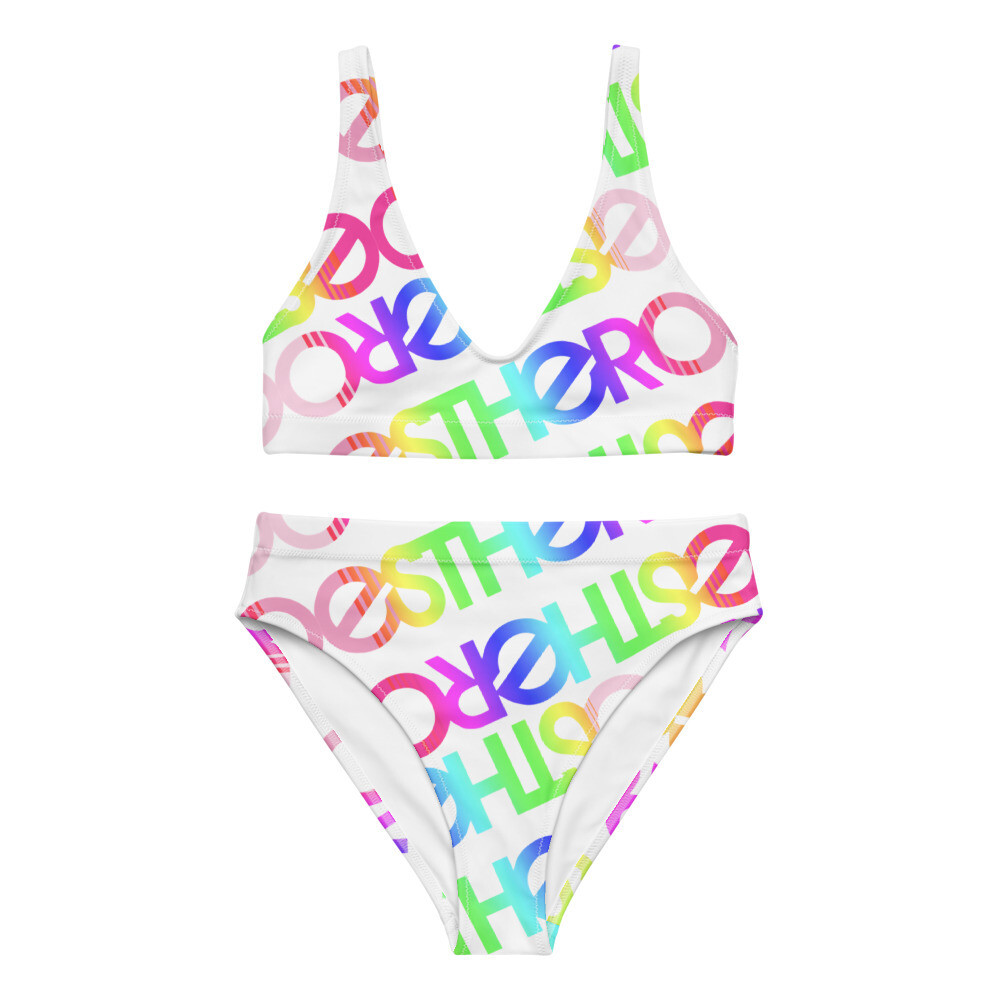 Esthero Rainbow High-Waisted Bikini Set