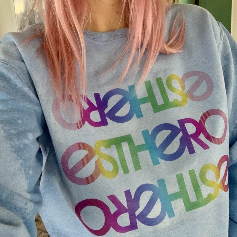 Custom Bleached Esthero Light Blue Sweatshirt S