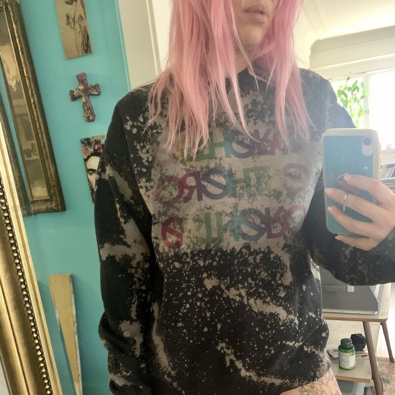 Custom Bleached Esthero Black Sweatshirt L