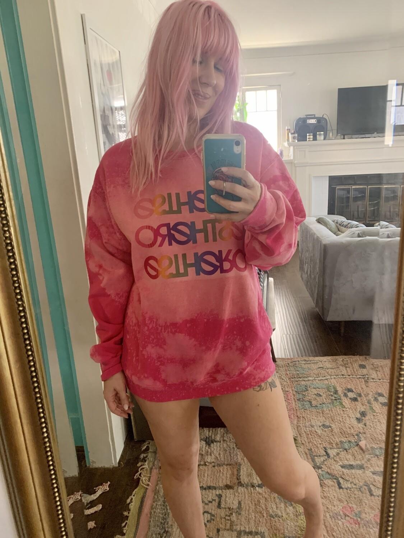 Custom Bleached Esthero Pink Sweatshirt L