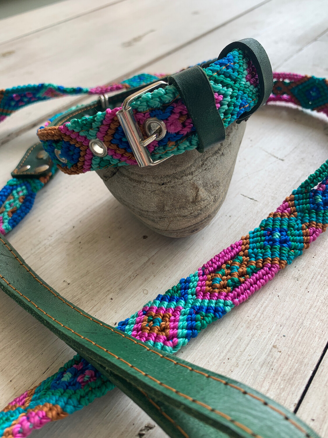 *SOLD* Hand Made Mexican Leash & Collar Set Teal