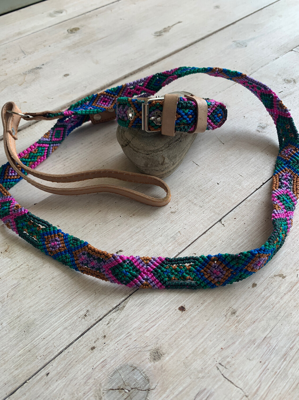 Hand Made Mexican Leash & Collar Set Jewel Tone Multi