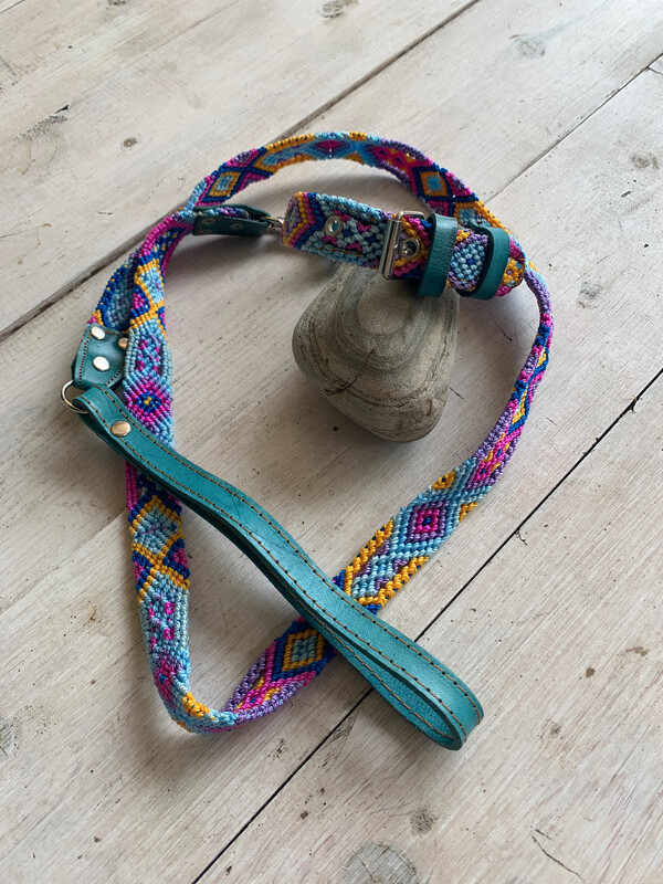 Hand Made Mexican Leash & Collar Set Blue