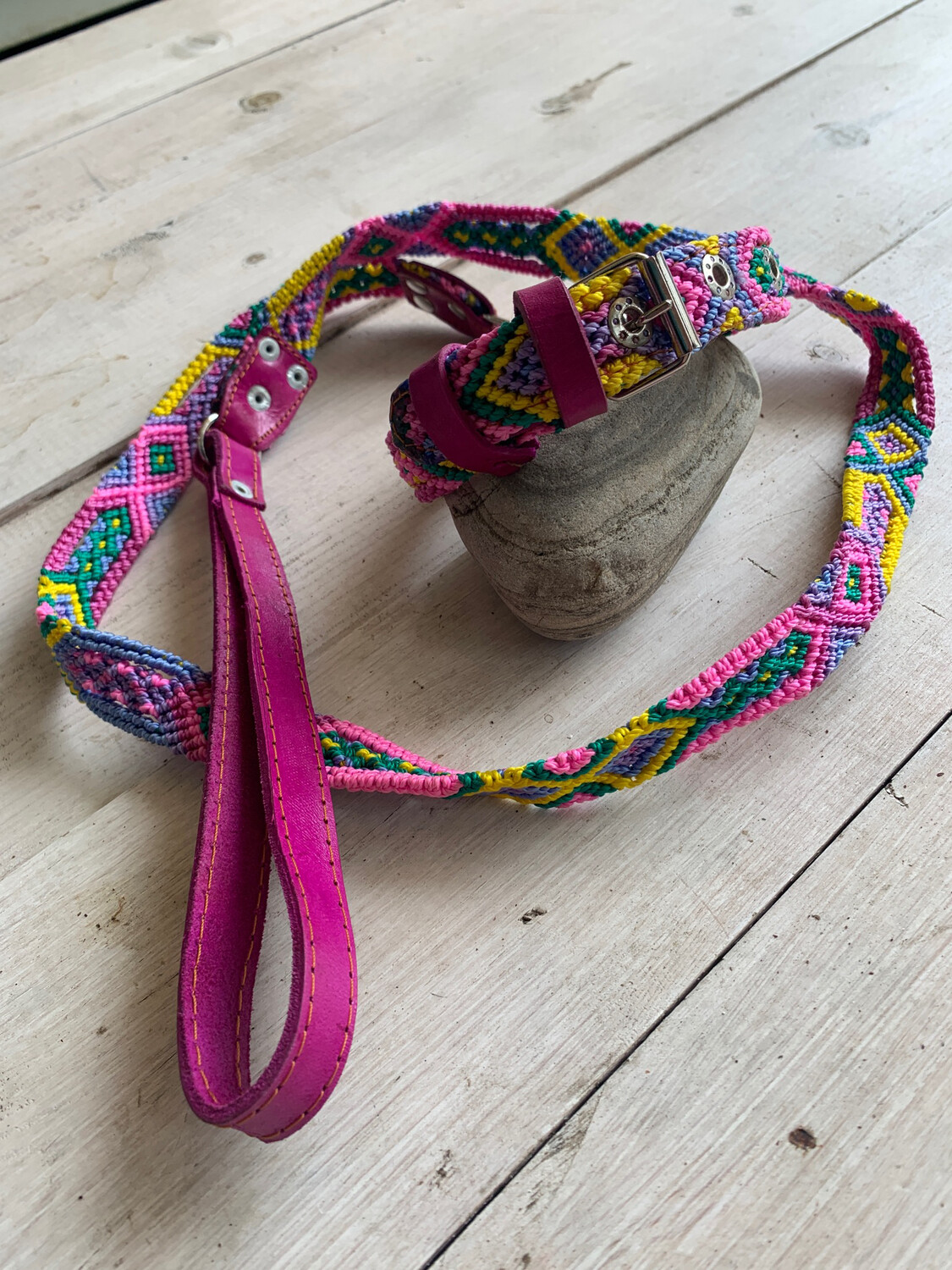 *SOLD* Hand Made Mexican Leash & Collar Set Magenta