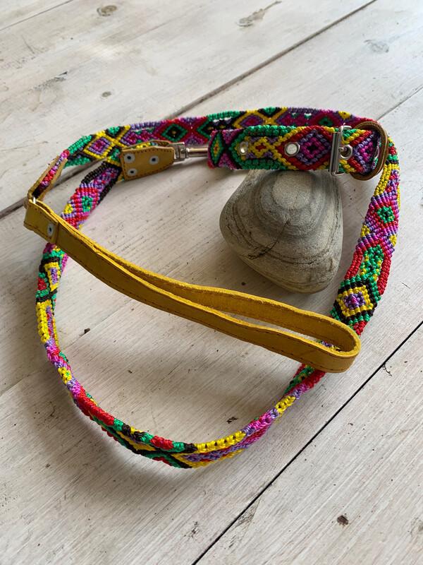 Hand Made Mexican Leash & Collar Set Mustard
