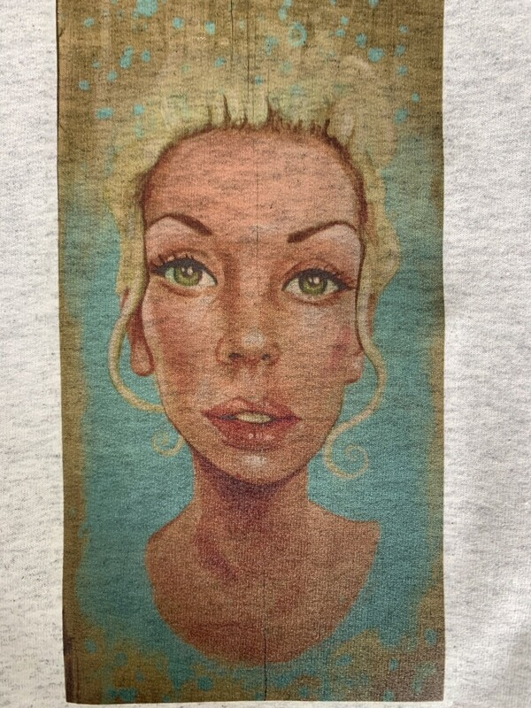 Esthero x Peña Sweatshirt ft Peña Painting of Esthero on Wood Board (size Small)
