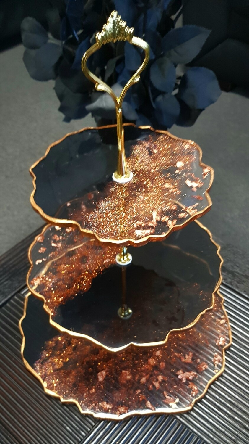 Copper and black 3 tier cake stand