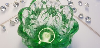 """Green """"In Memory Of"""" candle holder/mini vase"""