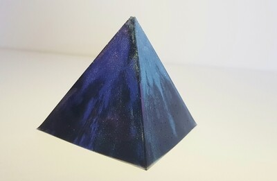 """Pyramid/paper weight - black chameleon """"Mysteries of life"""""""
